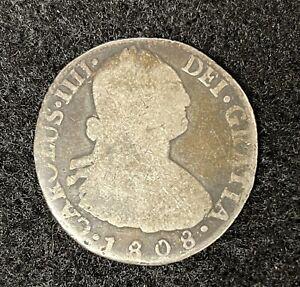 1808-PTS PJ BOLIVIAN 2 REALES WORLD SILVER COIN - CHARLES IIII - BOLIVIA