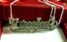 Name Double Plate Silver Personalized Choose Any Name Necklace(Haert tail)