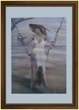 Sposa in altalena a bordo lago Fotolitografia Innocenzo Melani con certificato