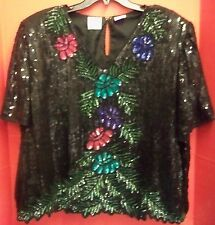 Stenay Plus 100% Silk Sequined Beaded Top Blouse Ladies Sz 2XL Party Evening