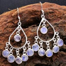Natural Moonstone Solid 925 Sterling Silver Wedding Earring Handmade Jewelry