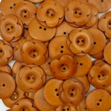 50 pcs Brown Wood Round Buttons Lot 30mm Craft Sewing Scrapbook DIY