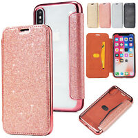 Glitter Bling Leather+Clear Back Flip Wallet Case Cover for iPhone XS Max XR 8 7