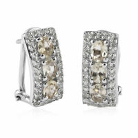 925 Sterling Silver Platinum Plated Turkizite Hoops Hoop Earrings Gift Ct 1.7