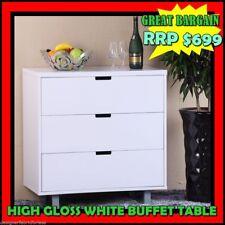Brand new White Hi High Gloss lowboy Chest Bedside Dresser /Storage 3 DRAWER
