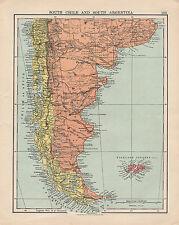1925 CARTE ~ sud le Chili et l'Argentine avec îles Falkland
