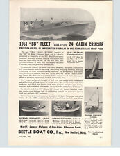 1951 PAPER AD Beetle Boat Motor Boat 24' Cabin Cruiser BB Swan Sailboat