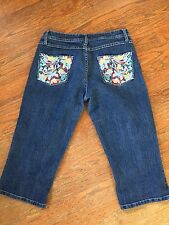 Sizzle Capri Stretch Jeans - Butterfly Embroidery Dark Wash Women's 9 - 812005