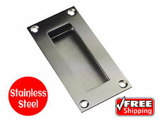 FLUSH PULL STAINLESS STEEL SQUARE 100 x 50 EXPOSED RECESSED DOOR HANDLE SATIN