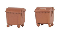 Faller 180960 Brown Industrial Wheelie Bins (2) Kit IV HO OO Gauge