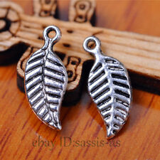 100pcs 14mm Charm leaf pendant Diy Jewelry Bracelet Necklace Tibet Silver A7074