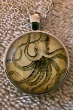 New Octopus Kraken Nautical Glass Cabochon Tibet silver pendant chain necklace