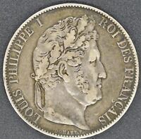 1846 FRANCE Silver 5 FRANCS, mm. W, LILLE MINT LOUIS PHILIPPE I, COIN