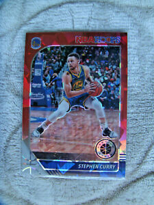 2019-20 NBA Hoops basketball premium stock Stephen Curry Red cracked ice prizm