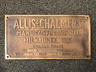 Vintage Allis-Chalmers Hydraulic Turbine Name Plate Plaque Heavy Brass 12 3/8 L