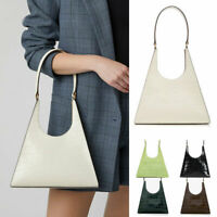 Real Leather Small Trianle Shoulder Bag Purse Trapezoid Baguette Bag Top Handle