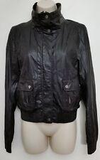 Bershka Bsk Womens Jacket Small Faux Leather Moto Motorcycle Biker Black Zip