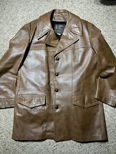 London Fog Vintage Brown Leather Jacket Mens Faux Fur Zip Out Lining  42 Long