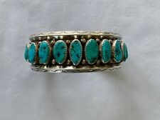 OLD PAWN NAVAJO LARGE 17 TURQUOISE STONES AND STERLING SILVER BRACELET