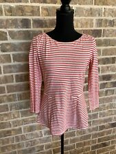 Rebecca Taylor Women's Casual Blouse striped red and cream size XS 3/4 sleeve