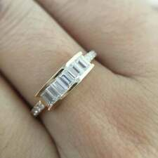 Over Women's Engagement Wedding Band Ring 1 ct Baguette Diamond 14k Yellow Gold