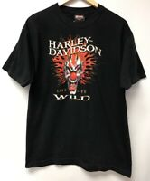 Vintage Harley Davidson Men Size L T Shirt Clown Black Red Yellow Beaumont Texas