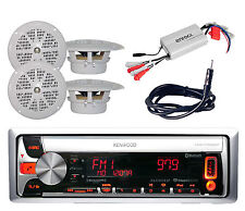 New KMR-D562BT Boat CD/MP3 USB iPod Pandora Radio+ 800W Amp,Antenna + 4 Speakers