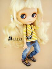 <M-Style>azone/licca/blythe size Doll Handmade Jeans Blue