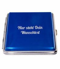 Zigarettenetui 20er blau Zigarettenbox Aluminium mit kostenloser Wunschgravur