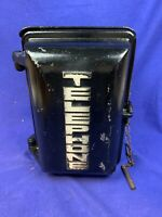 Vintage ALLEN TELEPHONE PRODUCTS Weather Metal Phone Box with Phone b863