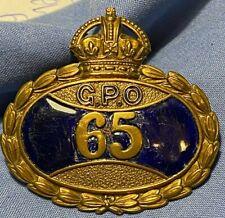 SUPERB ORIGINAL GPO POST OFFICE UNIFORM BADGE - NO 65 POSTMAN BADGE -