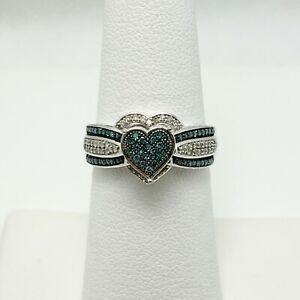 Nifty 1/2ctw Blue Diamond 10k White Gold Heart Ring (5306)