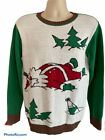 Holiday Ugly Christmas Knit Sweater Drunk Santa Medium Stretch Green Red White