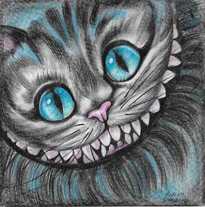 original drawing 20 x 20 cm 106SP art Modern Colored Pencil Cheshire Cat