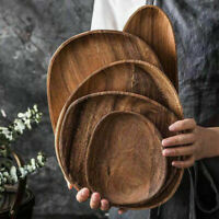 Wooden Irregular Oval Wood Plates Fruit Dish Saucer Tray Dessert Dinner Plates