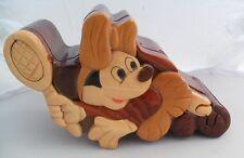 Vintage Wood Minnie Mouse Tennis Puzzle Box