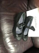 Calvin Klein Rissa Wedge Heel Cap Toe Mary Janes Wo's 7.5 Black Snake Embossed