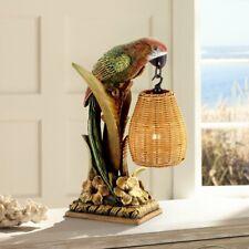 Parrot Table Lamp Wicker Shade Margarita Tropical Light Lantern Bar Desk Bird