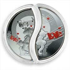 Niue 1 dollar In Love Lovers Cats Set of 2 silver proof coins 2013