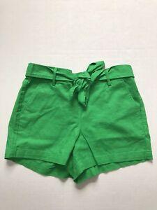 "J.Crew Factory Women's Sz 8 Green Front Tie 5"" Linen Blend Chino Shorts NWT"