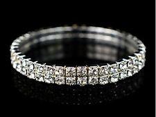 Silver Tone Diamonte Diamante Clear 2 Row Stretchy Bracelet - NEW!!