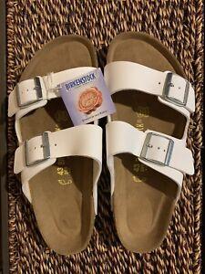 Birkenstock Arizona Men's 10 (EU43) White Sandals Birko-Flor Regular Slides