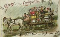 """""""Gruss aus der Landpartie, Ausflug, Kutsche""""  1896, aus Bayern ♥"""