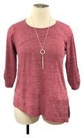 New! AVENUE Raspberry Hacci Ribbed 3/4 Sleeve Asymmetric Hem Sweater