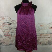 Molly New York Wms Sz 6 Red Navy Blue Print 100% Silk Sleeveless Dress POCKETS