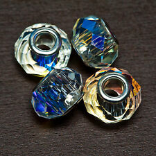 Lot of FOUR (4) Faceted LARGE HOLE Crystal Aurore Boreale 14x9mm Rondelle BEADS