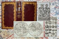 1761 Geographie Geography Heraldik Heraldry Map Weltkarte Prachteinband Dufrene