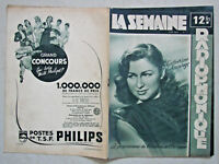 COUVERTURE LA SEMAINE RADIOPHONIQUE N°04 de 1949 - CATHERINE SAUVAGE - PHILIPS