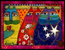 LAUREL BURCH Birthday Kitten Cats Heart Stars Flowers Birthday Greeting Card NEW