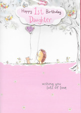 HAPPY 1ST BIRTHDAY DAUGHTER CARD,HEDGEHOG,3D ,LOVELY VERSE,LARGE 10 X7 INCH(X1).